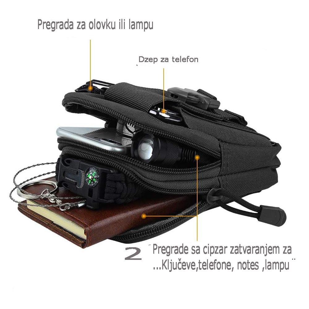 detalji na army torbici za pojas