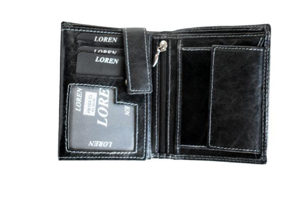Muški kožni novčanik Loren black pregrade za sitan novac i kartice