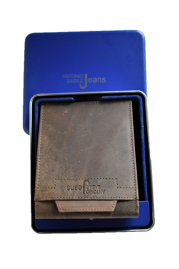 italijanski kožni novćanik braon u metalnoj kutiji