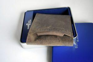 muški kožni novčanik metalna kutija