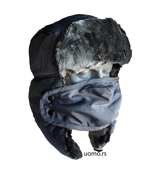 zimska kapa šubara siva sa skidajućom maskom
