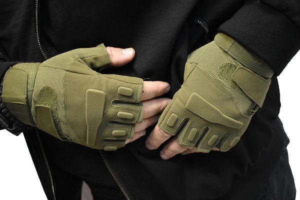 Rukavice bez prstiju model BLACK EAGLE zelene