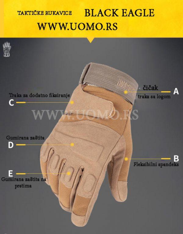 taktičke rukavice sa duplim kopčanjem u krem boji