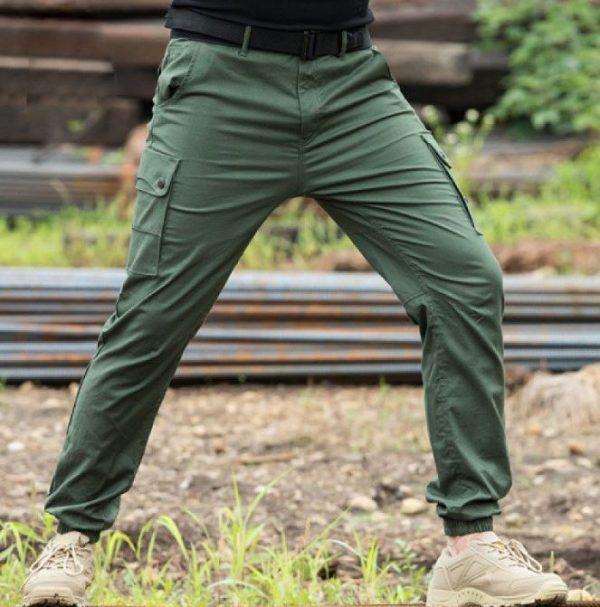 kargo zelene pantalone sa ramflom